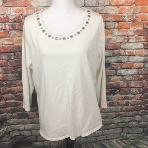 Talbots 2X Off White Gem Collared 3/4 Sleeve Shirt